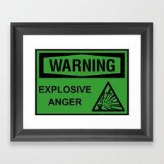 Warning: Explosive Anger Framed Art Print