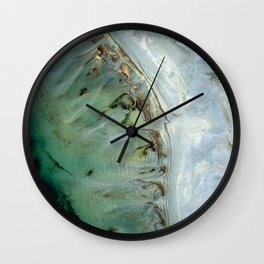 Marble teal & gold ocean Wall Clock