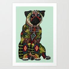pug love mint Art Print