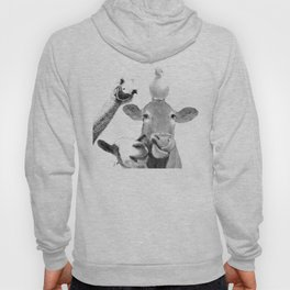 Black and White Farm Animal Friends Hoodie