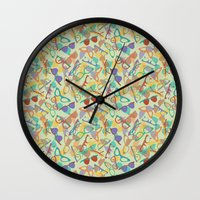 sunglasses Wall Clocks featuring Sunglasses by Laura Barnes