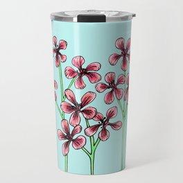 Cherry Blossoms on Blue Travel Mug