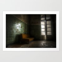 sofa Art Prints featuring Dark sofa by Cozmic Photos