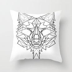 Geo Wolf Throw Pillow