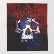 Red, White, and Blue Skull Throw Blanket