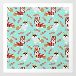 Corgi Bacon art print cute corgis dog bacon food corgis pillow funny bacon design Art Print