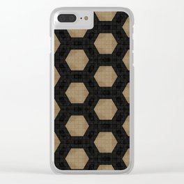 Textured Tan and Black Marble Geo Patterns Clear iPhone Case
