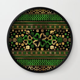 Lucky Shamrock Four-leaf Clover Green and Gold Wall Clock