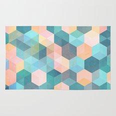 Child's Play 2 - hexagon pattern in soft blue, pink, peach & aqua Rug