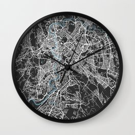 Rome Italy Map | Black & Blue | More Colors, Review My Collections Wall Clock