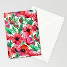 Plenty of Poppies - white Stationery Cards