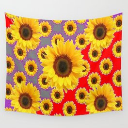 Sunflower Patterns on Red & Grey-Purple Color Wall Tapestry