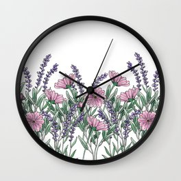 Pink and Lavender Floral Fields Wall Clock