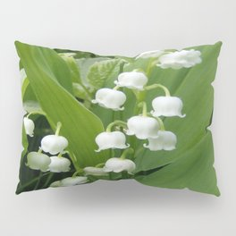 Pure White Lily of the Valley Flower Macro Photograph Pillow Sham