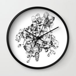 Orchids and snake Wall Clock