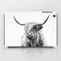 hair iPad Cases featuring portrait of a highland cow by Dorit Fuhg