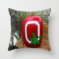 ohio state Throw Pillows featuring Ohio State Pumpkin by Photography by Michiale