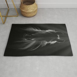 No One To Run With - Beautiful Horse Portrait black and white photograph - photography - photographs Rug