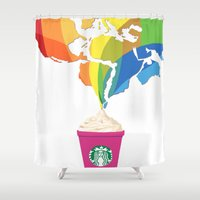 starbucks Shower Curtains featuring Starbucks Pop Art by Tiffany Taimoorazy