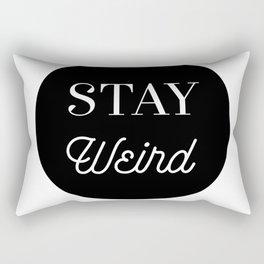 Minimalist Black and White Stay Weird Print Rectangular Pillow