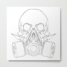 Vector punk steampunk lineart Skull with gas mask Metal Print