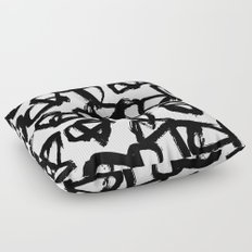 Painted Geometric Black and White Floor Pillow