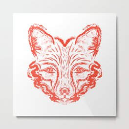 Muzzle foxes. Fox with sideburns, sketch strokes. Metal Print