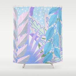 Modern Jungle Plants - Blue, Purple Shower Curtain