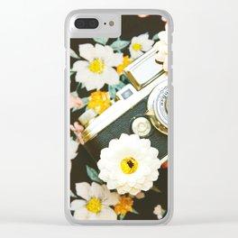 Floral Vintage Camera (Color) Clear iPhone Case