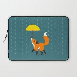 Happy as a Fox balancing an Umbrella in the Rain Laptop Sleeve