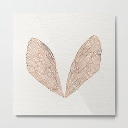 Cicada Wings in Rose Gold Metal Print