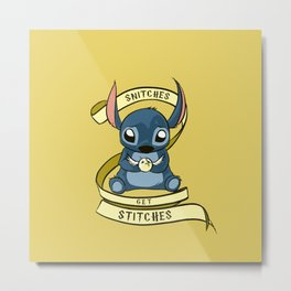 Snitches Get Stitches Metal Print