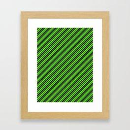 Bright Green and Black Diagonal RTL Var Size Stripes Framed Art Print