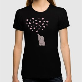 Cute Baby Elephant With Hearts T-shirt