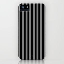 Black and Medium Gray Vertical Stripes iPhone Case