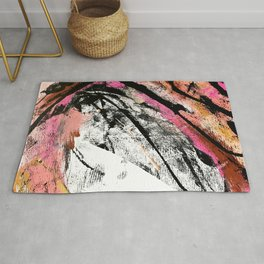 Motivation: a colorful, vibrant abstract piece in pink red, gold, black and white Rug
