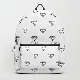 diamond illustration pattern - white and black Backpack