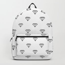 diamond illustration pattern - white and black Backpack