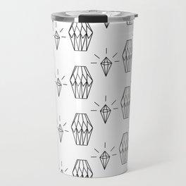 Geometrical black white diamond shapes pattern Travel Mug