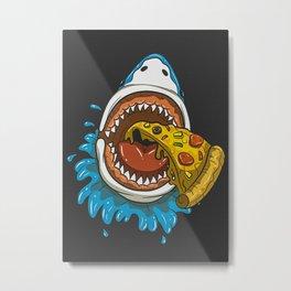 Shark Eating Pizza Metal Print