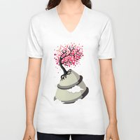 cherry blossom V-neck T-shirts featuring Cherry Blossom by Freeminds