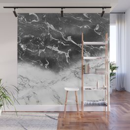 Modern black and white marble ombre watercolor color block Wall Mural