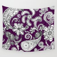 burgundy Wall Tapestries featuring Burgundy by Marcela Caraballo
