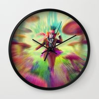 mad hatter Wall Clocks featuring Mad Hatter by dreamshade