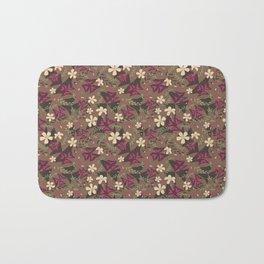 Purple Shamrock Floral Layered Pattern / Brown Bath Mat