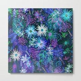 Eden Floral Blue Metal Print