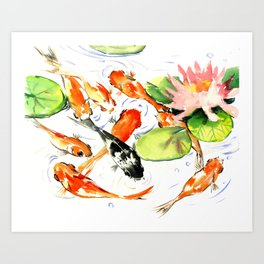 Koi Fish Pond, Feng Shui 9 koi fish art Art Print