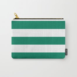 Spanish viridian - solid color - white stripes pattern Carry-All Pouch