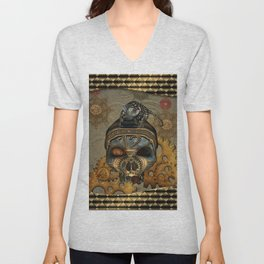 Steampunk, awesome steampunk skull with steampunk rat Unisex V-Neck