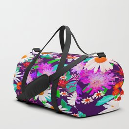 Purple Floral Pattern Duffle Bag